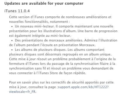 mise a jour itunes 11.0.4