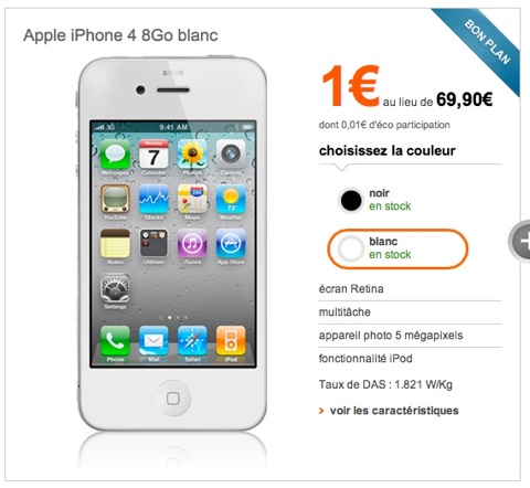 l iphone 4 1 chez sfr et orange igeneration. Black Bedroom Furniture Sets. Home Design Ideas