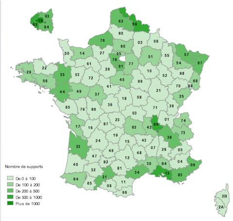 Une carte de France de la 4G - Plus c'est vert foncé, plus il y a des antennes 4G